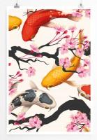 Poster Koi Fische und japanische Kirschblüte