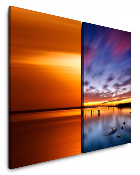 2 Wandbilderje 60x90cm Abendröte See Meer Sonnenuntergang Rot Wolken Abenddämmerung