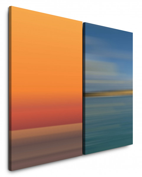 2 Bilder je 60x90cm Horizont Orange Blau Türkis Wandbild Leinwand Geschenk