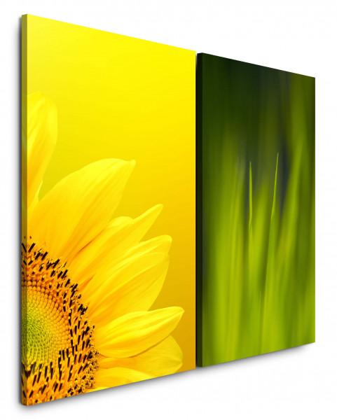 2 Bilder je 60x90cm Sonnenblume Gelb Grün Gras Makro Sommer Fotokunst