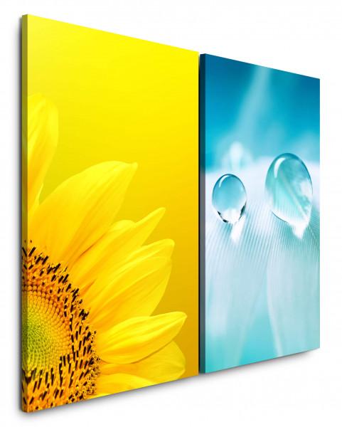 2 Bilder je 60x90cm Sonnenblume Gelb Feder Tropfen Blau Hellblau Makro