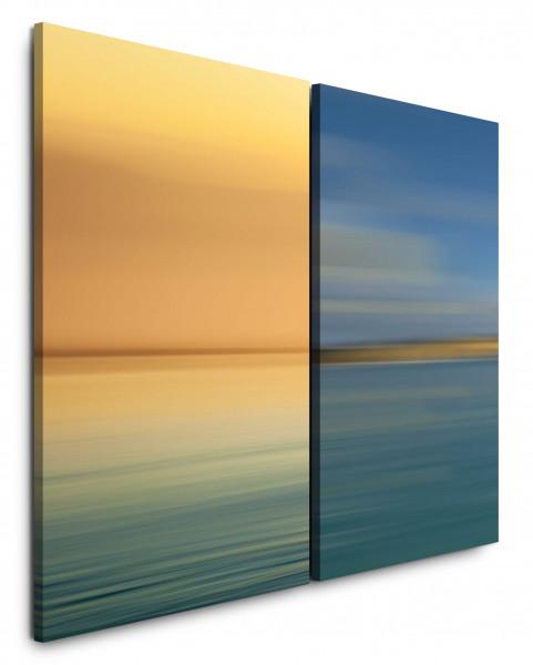 2 Bilder je 60x90cm Horizont Gold Türkis Minimal Meer Himmel Abstrakt