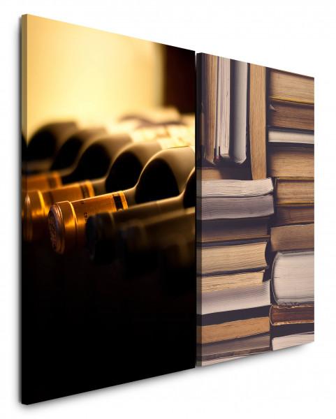 2 Bilder je 60x90cm Bibliothek Bücher Wein Bücherregal Lesen Rotwein Entspannend