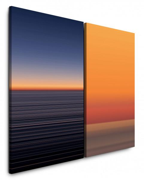 2 Bilder je 60x90cm Dunkles Meer Horizont Abenddämmerung Modern Orange Sonnenuntergang