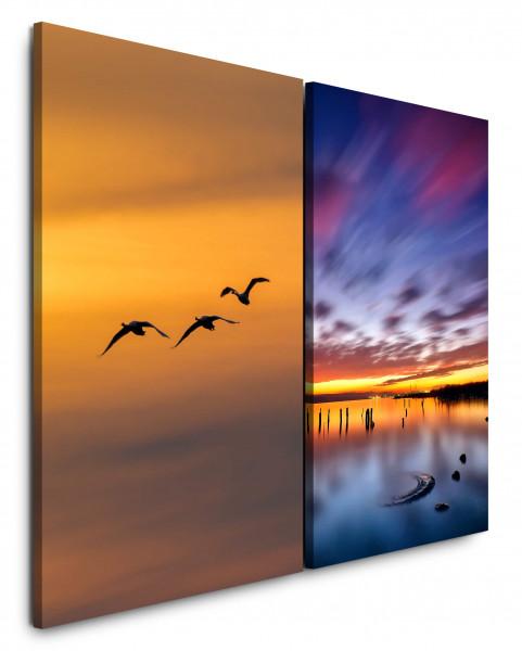 2 Bilder je 60x90cm Entenflug See Himmle Über Wolken Fliegen Sonnenuntergang