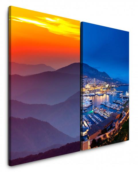 2 Bilder je 60x90cm Berge Palermo Italien Hafen Abendröte Marina Yachten