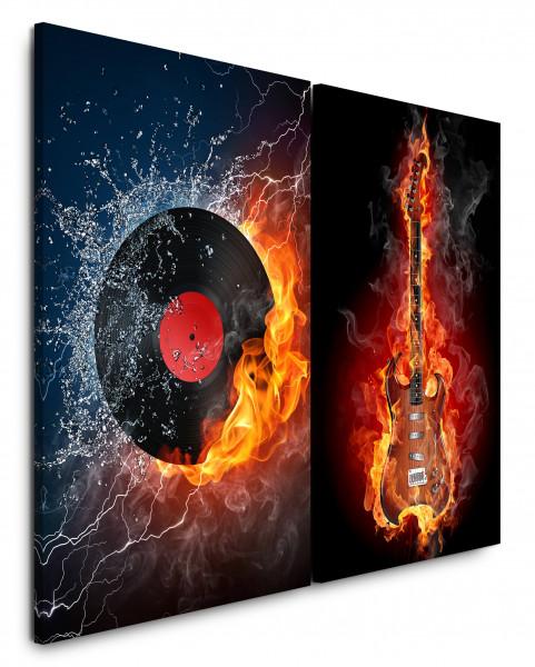 2 Wandbilderje 60x90cm E-Gitarre Flamen Feuer Heiß Musik Rock Schachfigur