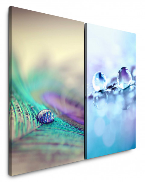 2 Wandbilderje 60x90cm Pfaufeder Wassertropfen Blau Makro Nahaufnahme Tropfen Makrofotografie