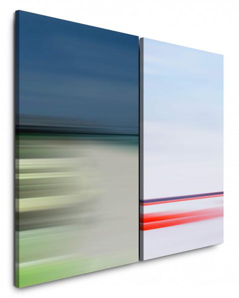 2 Bilder je 60x90cm Pastelltöne Horizont Hell Harmonisch Beruhigend Minimal Ferne