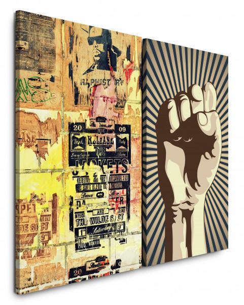 2 Bilder je 60x90cm Streetart Revolution Faust Graffiti Grungy Wand Modern