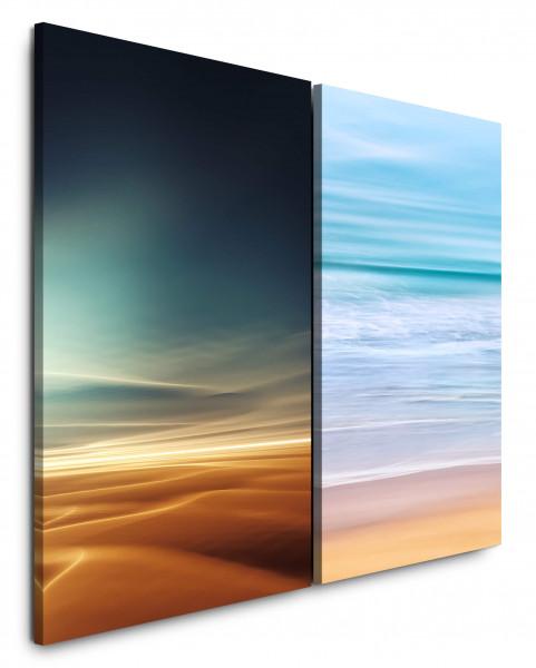2 Bilder je 60x90cm Wüste Sahara Meer Blau Gold Horizont Wellen