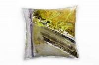 Zierkissen Khaki Gelbgrün Lilagrau