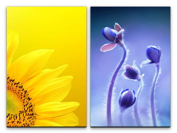 2 Wandbilderje 60x90cm Sonnenblume Gelb Blumen Tulpen Sommer Balu Makro