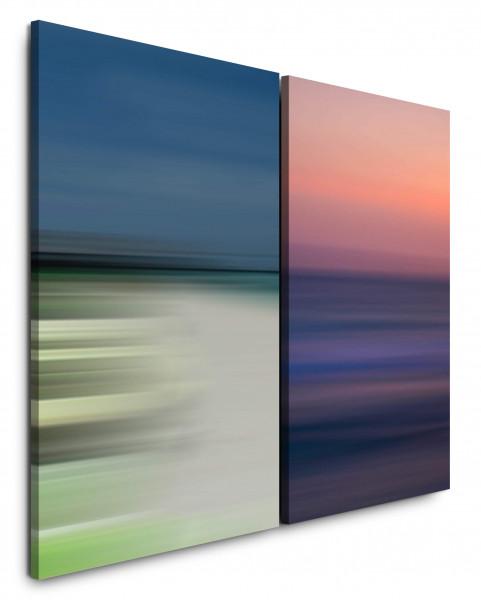 2 Bilder je 60x90cm Pastelltöne Horizont Wellen Abendröte Minimal Tiefe Abstrakt