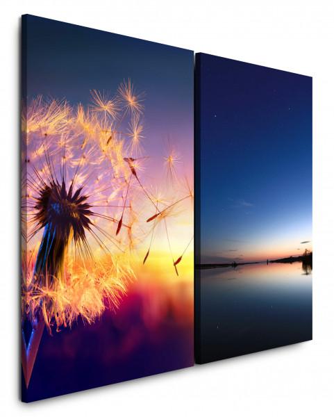 2 Bilder je 60x90cm Pusteblume Sommer Sonnenuntergang See Horizont Sommernacht Abendröte