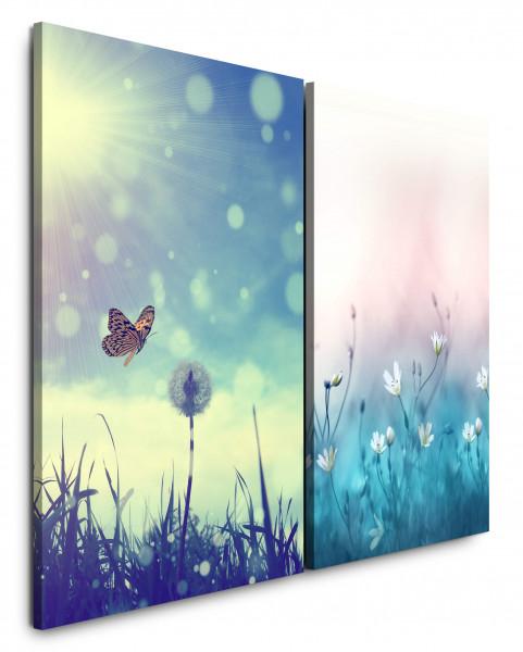 2 Bilder je 60x90cm Wiese Schmetterling Pusteblume Sonne Türkis Sommer Himmel
