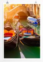 Poster Kanal in Venedig mit Gondeln