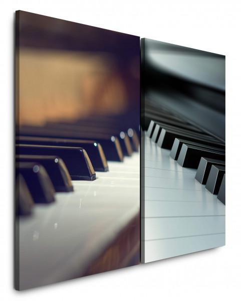 2 Bilder je 60x90cm Klavier Klaviertasten Musik Klassische Piano Nahaufnahme Jazz
