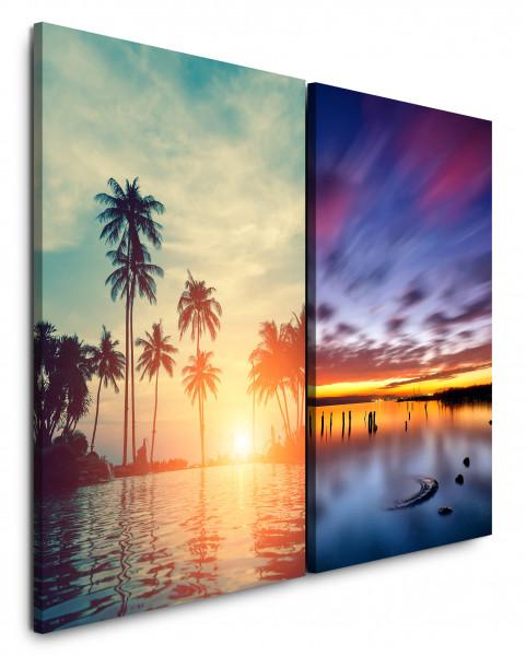 2 Bilder je 60x90cm Palmen Miami Meer Sonnenuntergang Sommer Abendröte Urlaub