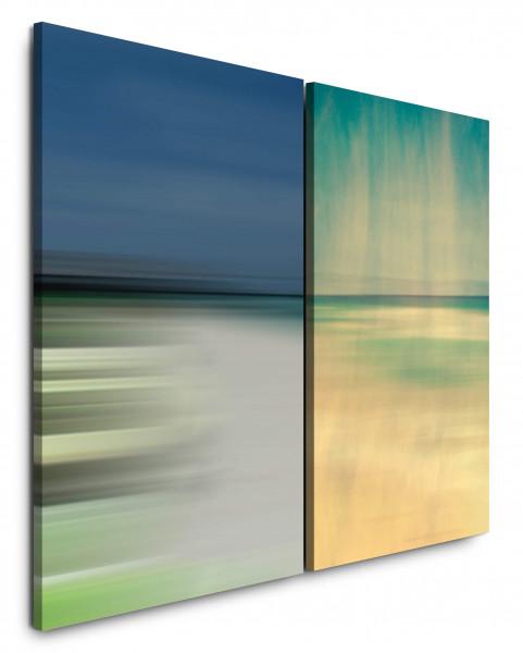 2 Wandbilderje 60x90cm Horizont Nebel Abstrakt Strand Gold Minimal Himmel