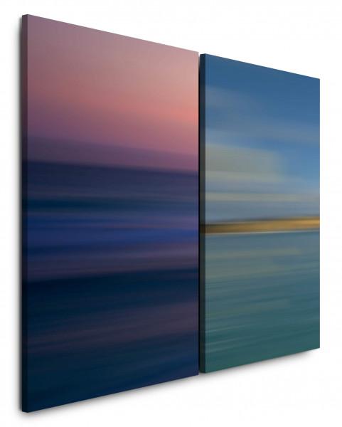 2 Bilder je 60x90cm Pastelltöne Horizont Dunkelblau Sonnenuntergang Minimal Modern Streifen