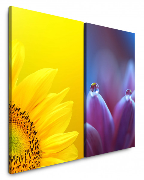 2 Bilder je 60x90cm Sonnenblume Gelb Wassertropfen Tropfen Nahaufnahme Fotokunst Makrofotografie