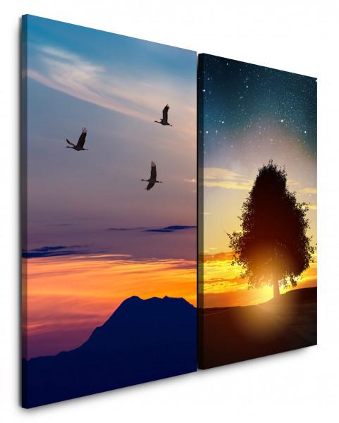 2 Bilder je 60x90cm Sterne Nachthimmel Kraniche Baum Sonnenuntergang Abendröte Berge
