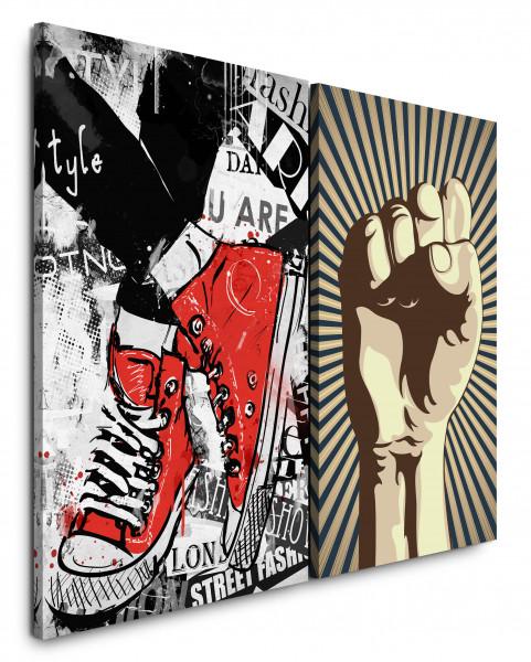 2 Bilder je 60x90cm Streetart Revolution Faust Chucks Converse Rot Sneakers