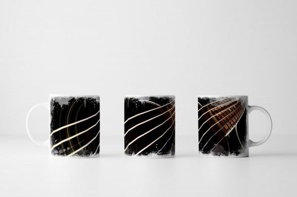 Tasse Schwarze Gitarre im Detail