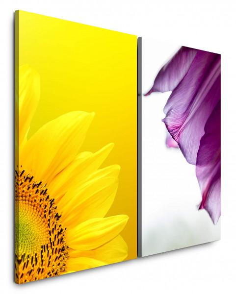 2 Bilder je 60x90cm Sonnenblume Gelb Makro Blumen Blüte Violett Sommer