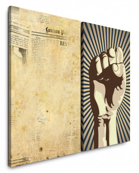 2 Bilder je 60x90cm Alte Zeitung Revolution Faust Grafik Grungy Widerstand