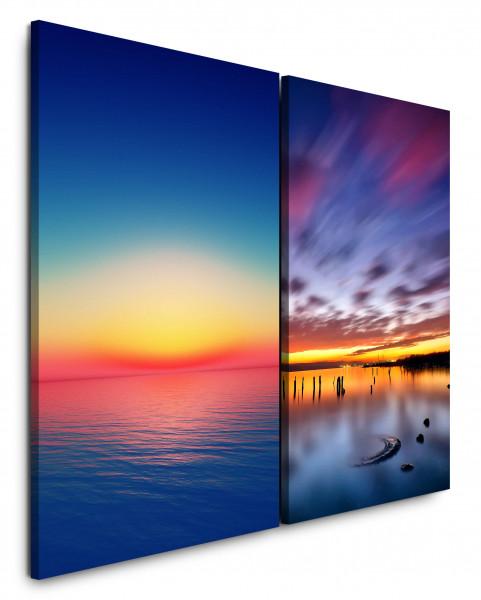 2 Bilder je 60x90cm Horizont Meer Sonnenuntergang Abenddämmerung Wolken Blau Abendröte