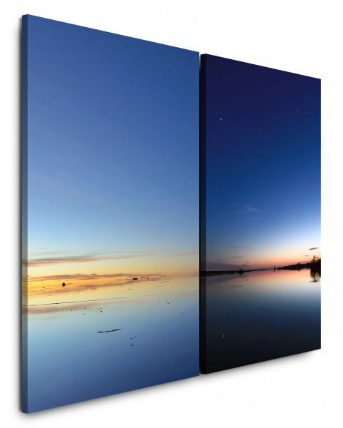 2 Bilder je 60x90cm Horizont Blauer Himmel Sonnenuntergang Nachthimmel See Meer