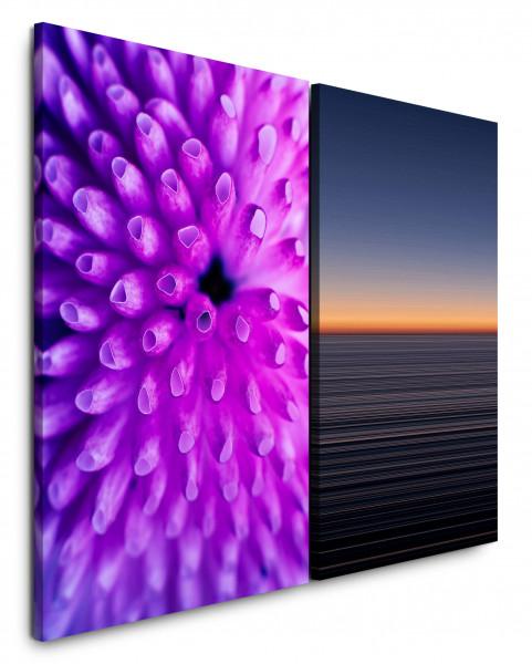 2 Bilder je 60x90cm Koralle Unterwasser Nahaufnahmen Sonnenuntergang Horizont Meer Violett
