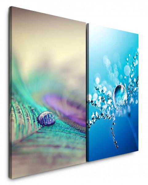 2 Bilder je 60x90cm Pfaufeder Makro Wassertropfen Nahaufnahme Fotokunst Blau Erfrischend