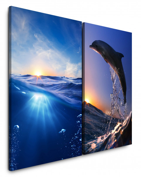 2 Bilder je 60x90cm Meer Wasser Delfin Paradies Unterwasser Süden Sonnenuntergang