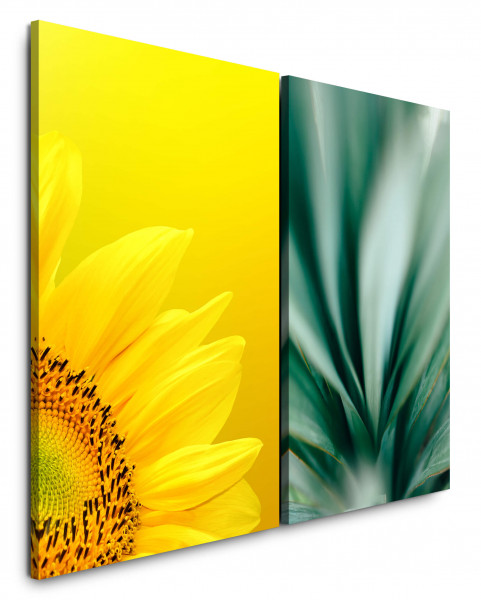 2 Wandbilderje 60x90cm Sonnenblume Gelb Grün Blumen Frisch Nahaufnahme Fotokunst