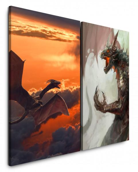 2 Wandbilderje 60x90cm Drachen Fantasie Roter Himmel Wolken Drachengebrüll Kraft