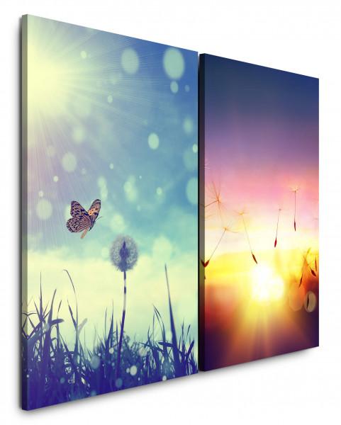 2 Wandbilderje 60x90cm Pusteblume Schmetterling Sonne Sommer Sonnenuntergang Sonnenschein Himmel