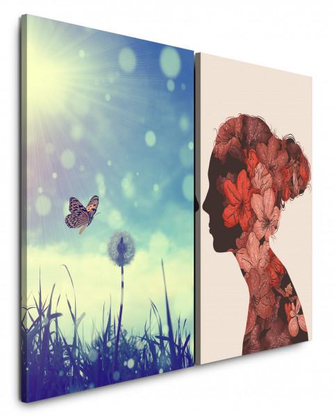 2 Bilder je 60x90cm Frühling Pusteblume Schmetterling Sommer Blumen Rosa Rot
