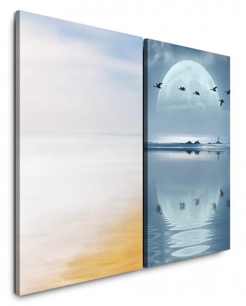 2 Bilder je 60x90cm Mond Vögel Vollmond Enten Meer See Mystisch
