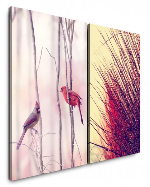 2 Bilder je 60x90cm Vögel Singvögel Frühling Halme Sperlinge Natur Natur
