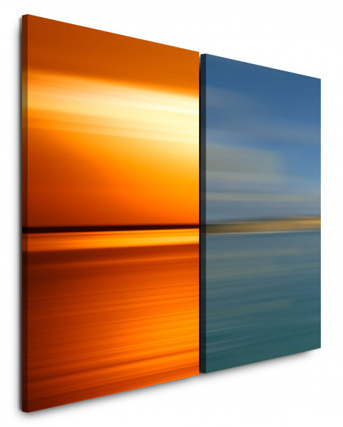 2 Bilder je 60x90cm Rotes Meer Horizont Abenddämmerung Türkis Sonnenuntergang Abstrakt