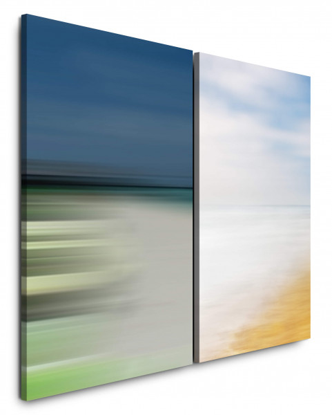 2 Bilder je 60x90cm Abstrakt Himmel Wolken Strand Minimal Abstrakt Harmonisch