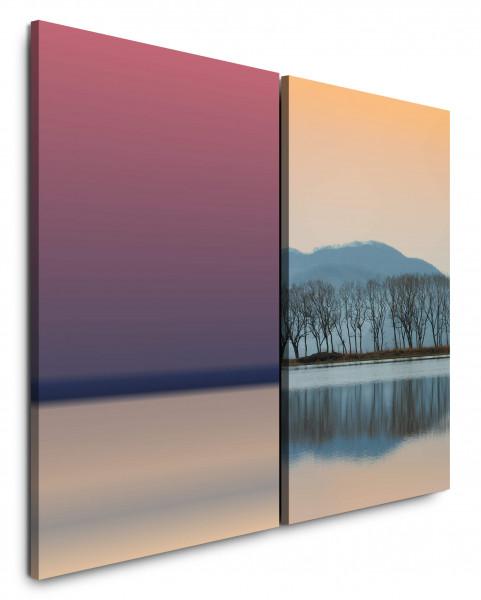 2 Bilder je 60x90cm Bäume See Horizont Rosa Berge Harmonie Idyllisch