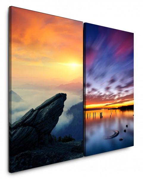 2 Bilder je 60x90cm Berge Fels Sonnenuntergang Himmel Wolken See Horizont