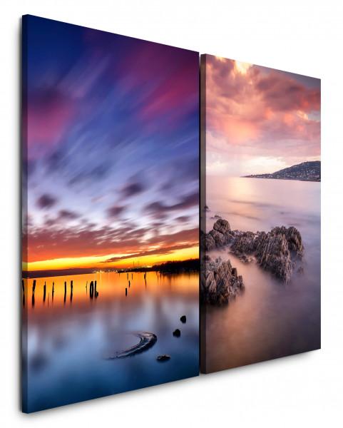 2 Bilder je 60x90cm Horizont Fels Meer Berge Sonnenuntergang Wolken Abendröte
