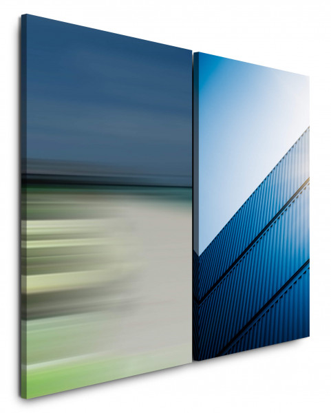 2 Bilder je 60x90cm Blau Business Container Horizont Fotokunst Büro Himmel