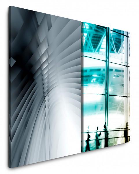 2 Bilder je 60x90cm Grau Business Büro Architektur Fotokunst Abstrakt Flughafen