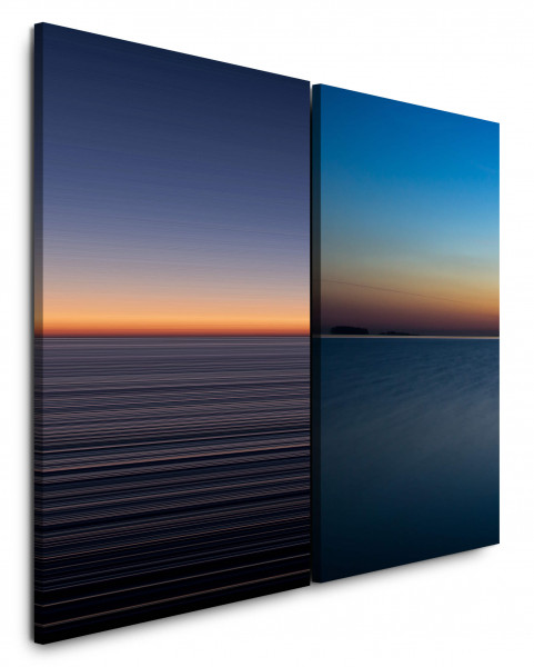 2 Bilder je 60x90cm Horizont Meer Harmonie Himmel Minimal Sonnenuntergang Nacht